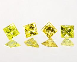 Custom Square Princess 0.12 Cts Natural Canary Yellow Diamond