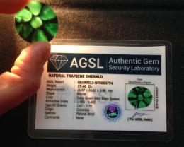 Certified Trapiche Emerald 27.40cts.
