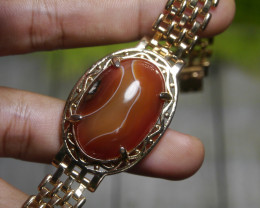 129.05 CT Indonesian Untreated Chalcedony PICTURE AGATE Braclet Jewelry