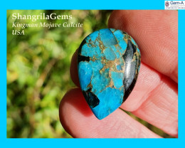24mm blue mojave calcite cabochon drop pear 24 by 17 by 3mm 11ct