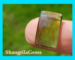 15.8mm Chrome Green tourmaline rose cut from Oro Mine Nigeria 15.8 by 10 by