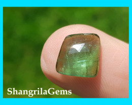 9.7mm Sea Green tourmaline rose cut from Oro Mine Nigeria 9.7 by 9.2 by 4mm