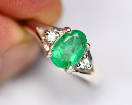 Emerald 2.48g Natural Vivid Green Emerald 925 Sterling Silver Ring A0505