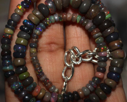 80 Crt Natural Ethiopian Welo Fire Smoked Opal Beads Necklace 38