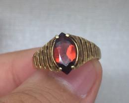 (B11) Superb Nat 1.0ct Vintage Women's Marquise Garnet Ring 10K YG