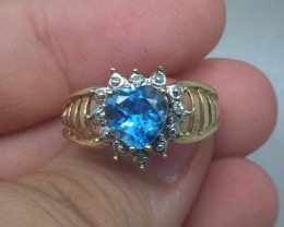 (B13)$900 Magnificent Nat 2.0ct Heart Shape Blue Zircon Ring 10K YG