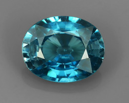 3.42 CTS~EXCELLENT NATURAL BLUE ZIRCON~ OVAL ~ NICE QUALITY GOOD LUSTER!