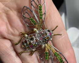 Huge Tourmaline Garnet Sterling Silver Gold Bee Brooch 86.00cts