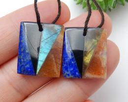 Beautiful Sunstone ,Obsidian ,Lapis Lazuli ,Labradorite Intarsia Earring Pa