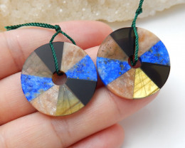 Labradorite ,Lapis ,Obsidian ,Sunstone Round Intarsia Earring Pairs B948