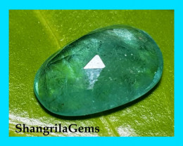 11.2mm 1.99ct rose cut Emerald from Zambia - minor oil treatment 11.2 by 7.