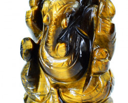 Genuine 995.00 Cts Golden Tiger Eye Ganesha