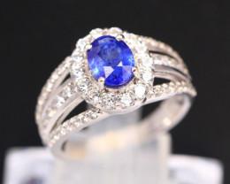 Blue Sapphire 3.72g Ceylon Blue Sapphire 925 Sterling Silver Ring B0501