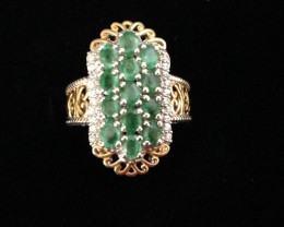 $450 Natural Emerald and Cambodian Zircon Ring 2.03ctw.