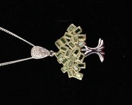 $560 Green and White Diamond Pendant 0.33ctw.