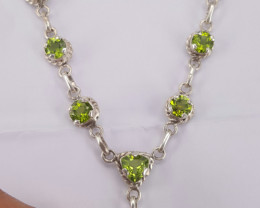 Natural Peridot & Amethyst Silver Necklace