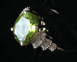 $920 Peridot and Diamond Ring 3.00ctw.