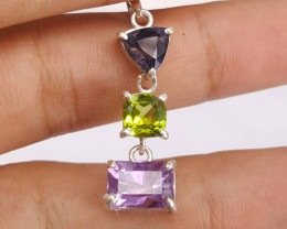 Amethysts/Peridot/Iolite Necklace