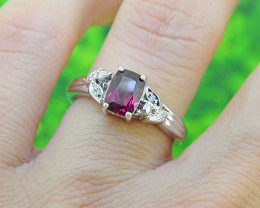 Ornate Natural Garnet 925 Sterling Silver Ring (SSR503)