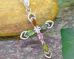 Natural Tourmaline 925 Sterling Silver  Cross Pendant (SSP0485)