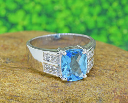 Natural Topaz 925 Sterling Silver Ring Gents' (SSR0498)