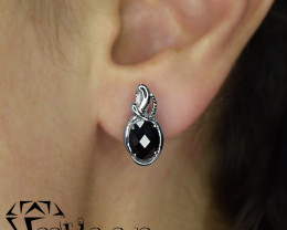 Natural Black Sapphire 925 Sterling Silver Earrings(SSE0495)