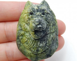 New design,Carved High Quality Serpentine Wolf head Gemstone Cabochon H4725