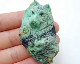New design,Carved High Quality Green Turquoise Wolf head Gemstone Cabochon