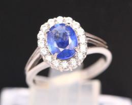 Blue Sapphire 2.76g Ceylon Blue Sapphire 925 Sterling Silver Ring B0606