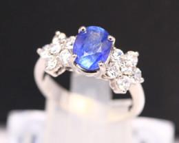Blue Sapphire 3.25g Ceylon Blue Sapphire 925 Sterling Silver Ring B0704
