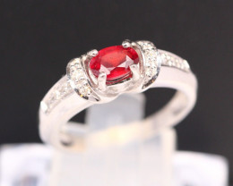 Ruby 2.57g Madagascar Red Ruby 925 Sterling Silver Ring B0707