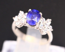 Blue Sapphire 3.15g Ceylon Blue Sapphire 925 Sterling Silver Ring B0710