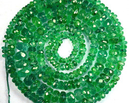 46.18Ct Untreated Natural Emerald Rondelle Faceted Beads Zambia 44cm