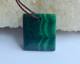 Green Malachite Pendant Bead ,Square Pendant ,Square Gemstone C13