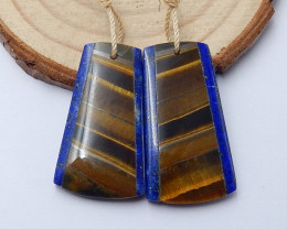 Fashion Lapis and Tiger eyes Intarsia Earring Pairs ,Healing Stone ,Gift fo