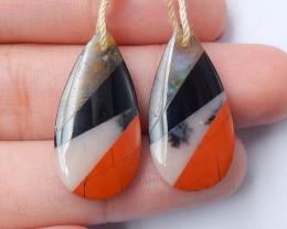 Labradorite ,Obsidian ,Pink opal ,Red River Jasper Intarsia Earring Pair C2