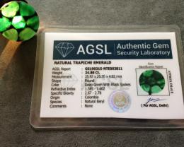 Certified Emerald Trapiche 24.80cts.