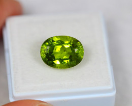 5.51ct Natural Green Peridot Oval Cut Lot Z107