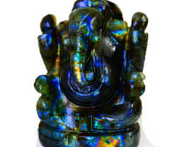 Genuine 1604.00 Cts Amazing Blue Flash Labradorite Ganesha