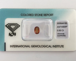 IGI Unheated - 0.93ct - Orange Sapphire