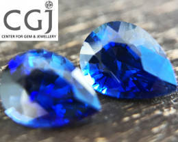 Certified - 1.44ct - Royal Blue Sapphire Pair