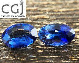 Certified - 1.15ct - Blue Sapphire Pair