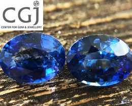 Certified - 1.27ct -  Blue Sapphire Pair