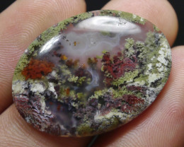 28.85 CT UNTREATED Beautiful Indonesian Moss Agate Picture