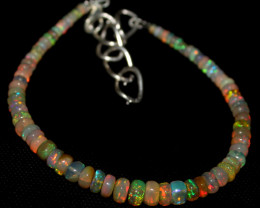 31 Crts Natural Ethiopian Welo Fire Opal Beads Bracelet 87