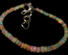 24 Crts Natural Ethiopian Welo Fire Opal Beads Bracelet 82