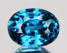 2.04 Cts Natural Sparkling Blue Zircon Oval Cut Cambodia