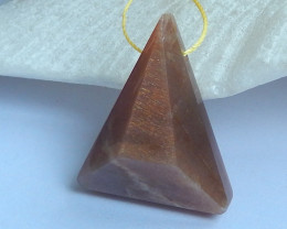 Faceted Triangle Sunstone Pendant ,Healing Stone ,Birthday Stone C41