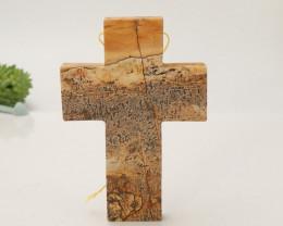 134.5Cts Natural Cross Shape Picture Jasper Pendant Bead,Gemstone Pendant B
