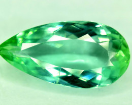 NR Auction - 7.60 CTS Pear Shape Green Spodumene Gemstone From Afghanistan